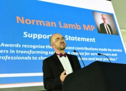 Ian Callaghan reads a statement of support from Norman Lamb MP