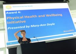 Mary-Ann Doyle presents the Physical Health and Wellbeing Initiative Award