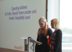 An opening address from Emily, Deputy Team Leader, and Keelie, Hospitality Lead of the Events Team